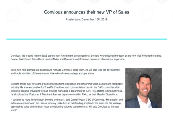 Bernard Kochen joins Convious as the new VP of Sales